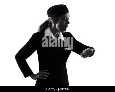 one caucasian Stewardess cabin crew  woman isolated on white background in  silhouette - Stock Photo