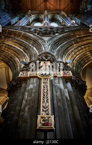 Cross above the altar in Glasgow Cathedral (St. Kentigern's, St. Mungo's), Glasgow, Scotland - Stock Photo