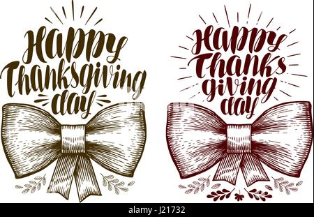 Happy Thanksgiving day, lettering. Holiday label or symbol. Calligraphy vector illustration - Stock Photo