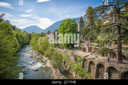 The most beautiful promenade in Merano is, however, the Tappeiner Trail, crossing the sunny south side of the Küchelberg. - Stock Photo