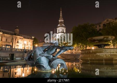 Trafalgar Square by Night. April 2017, London, UK - Stock Photo