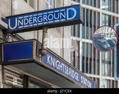 London underground Knightsbridge station, london, England, UK - Stock Photo