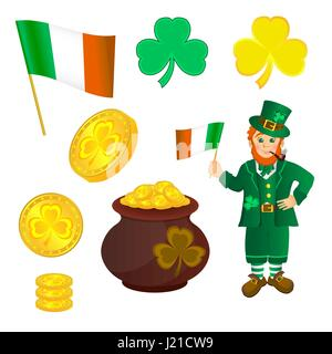 Smiling leprechaun in green clothes with a pipe in his mouth, with hat in hand. Shamrock and pan with Golden coins - Stock Photo