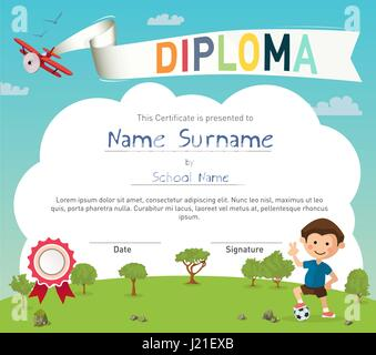 Colorful kids summer camp diploma certificate template - Stock Photo