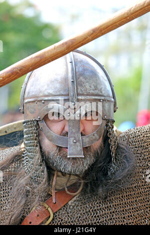 Manchester, UK. 23rd April, 2017. A Knight in full head gear on the streets of Manchester, 23rd April, 2017  Credit: - Stock Photo