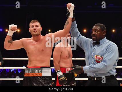 Tom Schwarz wins the WBO Inter Conti Championships heavy weight boxing fight between Schwarz (Germany) and Redzovic(Bosnia - Stock Photo