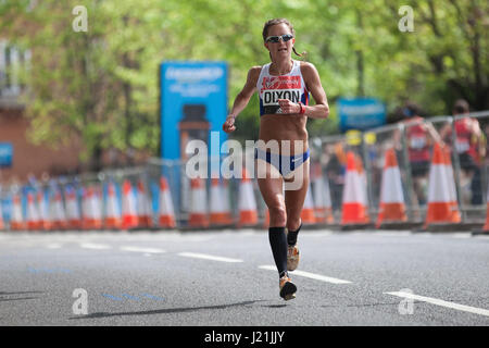 London, UK. 23rd April, 2017. Alyson Dixon of Great Britain, who finished 14th in the women's event, runs through - Stock Photo