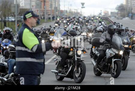 Minsk, Belarus. 23rd Apr, 2017. Bikers parade at a ceremony to open a new motorcycling season. Credit: Viktor Drachev/TASS/Alamy - Stock Photo