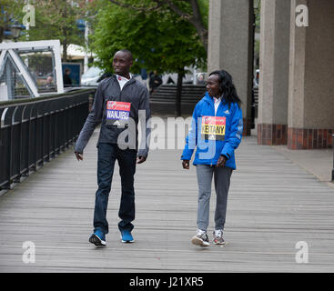 Tower Bridge,UK,24th April 2017,Daniel Wanjiru and Mary Keitany both from Kenya, were the London Marathon 2017 winners. - Stock Photo