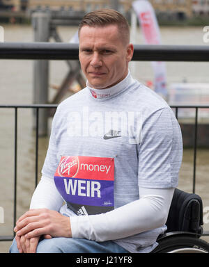 Tower Hotel, London UK. 24th April, 2017. David Weir (GB & NI) the elite wheelchair winner, attends the winners - Stock Photo