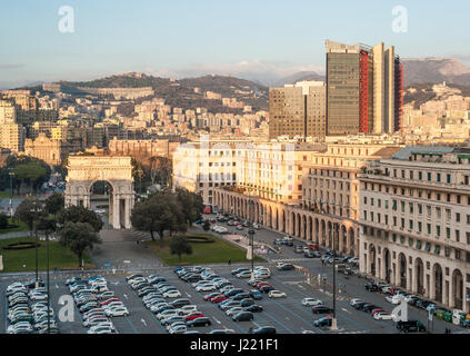 Panoramic view of modern buildings in 'Piazza della Vittoria' in Genoa - Stock Photo