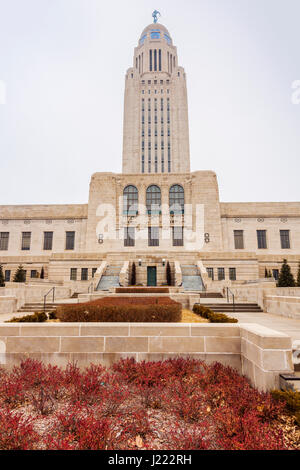 Lincoln, Nebraska - State Capitol Building. Lincoln, Nebraska, USA. - Stock Photo