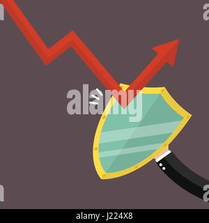 Businessman is protected by a shield from graph down - Stock Photo