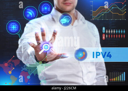 Business, Technology, Internet and network concept. Business man working on the tablet of the future, select on - Stock Photo