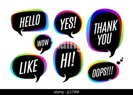 Hi Yes Thank You Hello Wow Love U No Like Bye Comic Speech Bubbles Set Halftones Stars And Other Elements In Separated Layers Colo Stock Vector Image Art Alamy