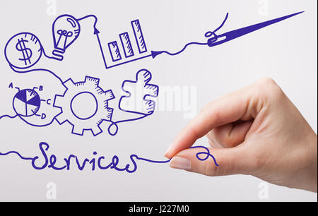 Technology, internet, business and marketing. Young business woman writing word: Services - Stock Photo
