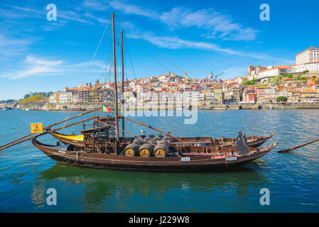 Rabelo boat Porto, a traditional rabelo boat moored along the Douro waterfront in Porto, Europe. - Stock Photo