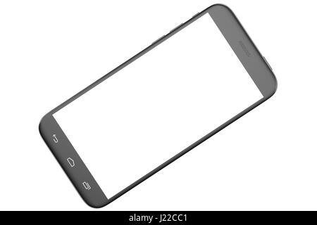 Modern smart phone. White screen for mockup, isolated on white background. 3d illustration - Stock Photo