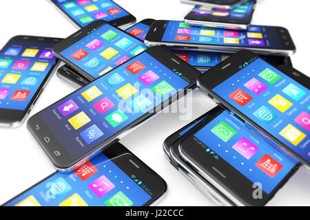 Heap of the different smartphones with application on the screen. Modern technology concept background. 3d illustration - Stock Photo