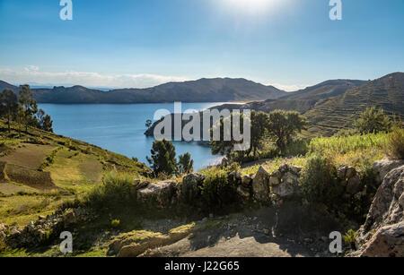Isla del Sol on Titicaca Lake - Bolivia - Stock Photo