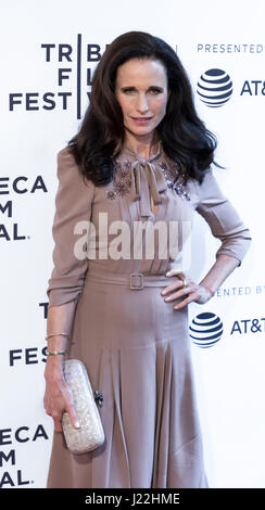 New York, Ny, Usa. 22nd Apr, 2017. Actress Andie MacDowell attends US Narrative Competition: 'Love After Love' Premiere - Stock Photo