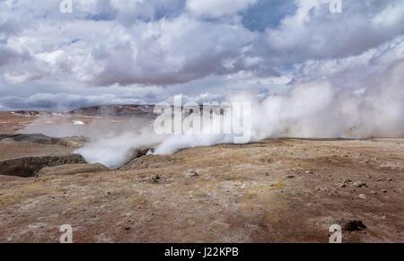 Geysers Sol de Manana in Eduardo Avaroa National Reserve of Andean Fauna - Potosi Department, Bolivia - Stock Photo