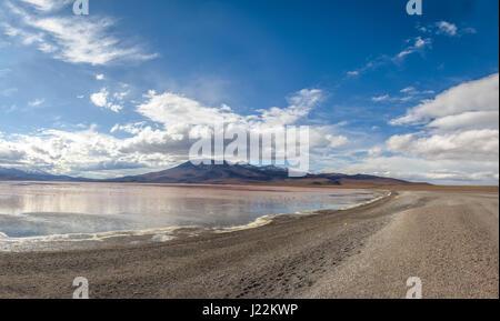 Laguna Colorada (Red Lagoon) in Bolivean altiplano - Potosi Department, Bolivia - Stock Photo