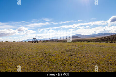 Off-road vehicle in Bolivean altiplano - Potosi Department, Bolivia - Stock Photo