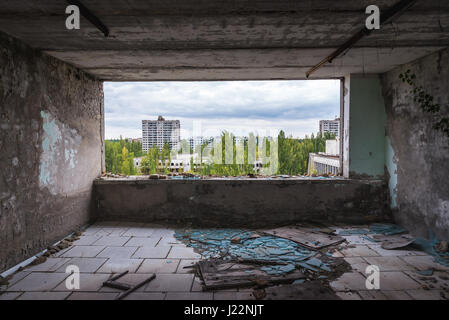 Pripyat ghost city of Chernobyl Nuclear Power Plant Zone of Alienation around nuclear reactor disaster in Ukraine - Stock Photo