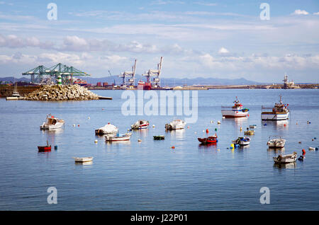 Anchored boats near the Port of Sines, Portugal - Stock Photo