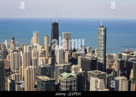Skyline in front of John Hancock Center, Lake Michigan, view from the Skydeck, Willis Tower, formerly Sears Tower, - Stock Photo