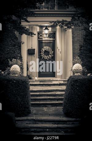 House entrance in suburban Ontario - Stock Photo