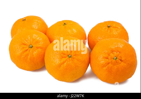 Grouop of  mandarins isolated on white - Stock Photo