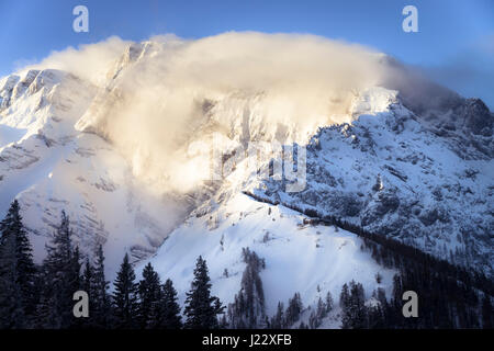 Germany, Bavaria, Berchtesgaden, Purtschellerhaus on Hoher Goell at sunrise - Stock Photo