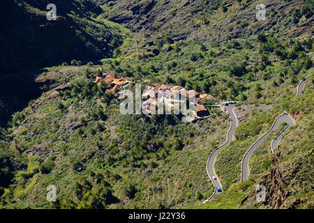 Dorf Masca, Masca-Schlucht, Teno-Gebirge, Parque Rural de Teno, Teneriffa, Kanarische Inseln, Spanien - Stock Photo