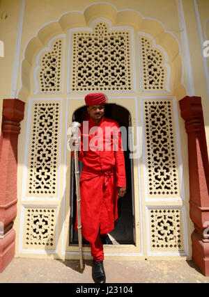 The traditionally-attired doorman at the City Palace Museum, Jaipur, Rajasthan, India - Stock Photo