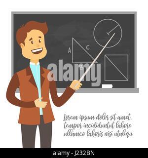 Teacher, professor standing in front of blank school blackboard vector illustration. School male teacher near blackboard - Stock Photo