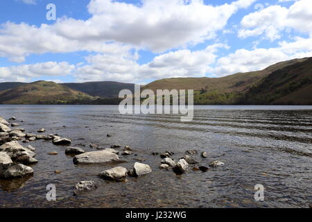 Peaceful Ullswater in the English Lake District National Park. View looking North up the lake. - Stock Photo
