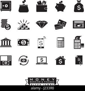 Collection of 20 money, banking and finance related solid icons - Stock Photo