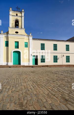 Facade of the colonial Saint John of God Church (Iglesia de San Juan de Dios) church by the San Juan de Dios square - Stock Photo