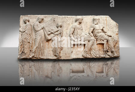 Marble Relief Sculptures from the east frieze around the Parthenon. Also known as the Elgin marbles. A British Museum - Stock Photo