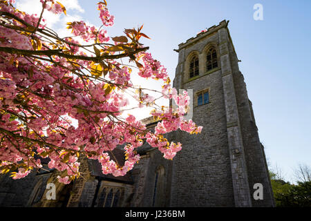 St John's C.E. Church in the Spring, Silverdale, Lancashire, England UK - Stock Photo