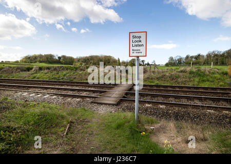 Pedestrian Crossing Warning Sign, Silverdale Lancashire, North West, England UK - Stock Photo