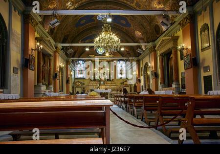 ISTANBUL, TURKEY - JULY 13, 2014: The interior of Saint Mary Draperis Church. It is the most ancient Roman Catholic - Stock Photo