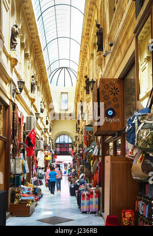 ISTANBUL, TURKEY - JULY 13, 2014: The flower passage  is one of famous landmark on Istiklal Avenue, located in the - Stock Photo