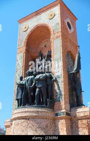 ISTANBUL, TURKEY - JULY 13, 2014: Monument of Republic on Taksim Square commemorate the formation of the Turkish - Stock Photo