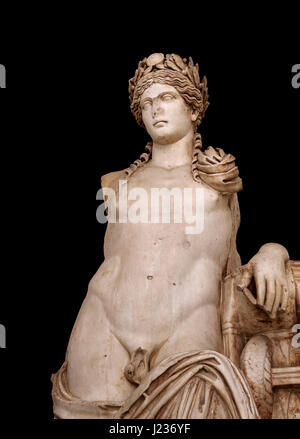 Detail of a second Century Roman statue of Apollo excavated from the Theatre of Carthage. The Bardo National Museum, - Stock Photo