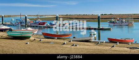Portugal, the Algarve, the lagoon at Santa Luzia. near Tavira - Stock Photo