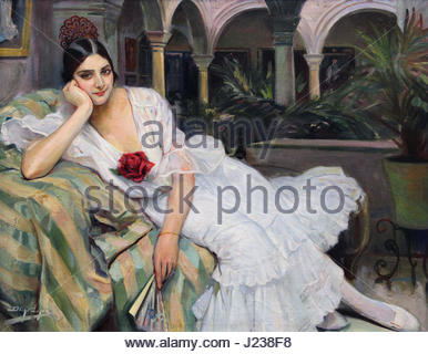 Sevillana en su patio Sevillian woman in her yard 1918 by Diego Lopez 1876-1969 - Stock Photo