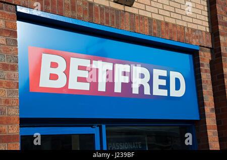Betfred betting shop store sign Bridlington East Yorkshire England UK United Kingdom GB Great Britain - Stock Photo